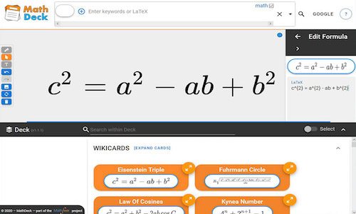 An image of MathDeck, a math-aware search interface.